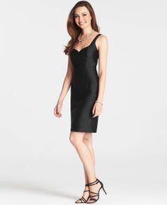Silk Dupioni Sweetheart Neck Dress   Ann Taylor