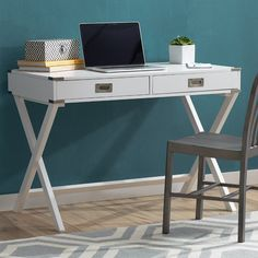 Anchor your office or study ensemble with this essential desk, perfect for everything from DIY craft projects to penning letters.