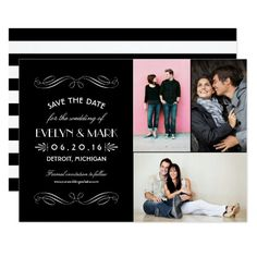 Save the Date Cards | Art Deco Collage Vintage inspired landscape wedding save the dates feature elegant and glamorous art deco style fonts, classic black and white color scheme, and three (3) engagement photos. The back of the card includes a bold horizontal stripes pattern.