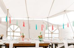 Coral, teal and mint garland for the ceiling