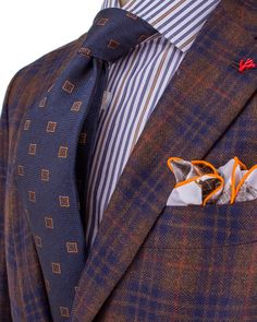 Isaia | Brown Plaid with Orange Windowpane Sportcoat | Apparel | Men's