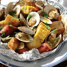 Portuguese Clam Bake Grilled in Foil