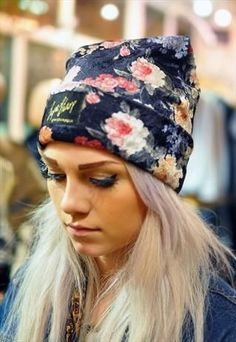 floral beanie, fall style, blonde locks.