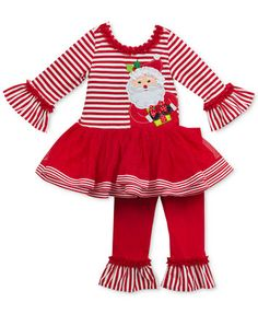 Rare Editions Santa Tutu Tunic And Leggings Set Toddler Girls - Red - Girls Christmas Outfits, Kids Outfits, Toddler Fashion, Boy Fashion, Fashion Games, Fashion Clothes, Cheap Kids Clothes Online, Tops For Leggings, Tunic Leggings