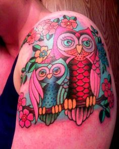 owl mama and baby tattoo