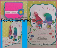 Troll Pop-up party invitations Puppy troll birthday by HappyToons