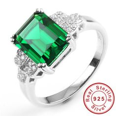 Online Shop 2014 New Fashion 3ct Genuine Nano Russian Emerald Ring 925 Solid Sterling Silver Set High Quality Brand Jewelry For Women |Aliexpress Mobile