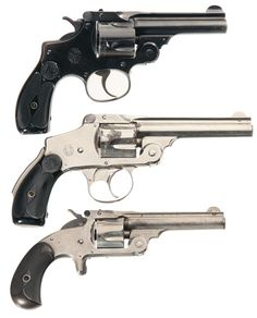 Vintage Smith & Wesson Photo | Three Vintage Smith & Wesson Revolvers -A) Smith & Wesson .38 Double ...