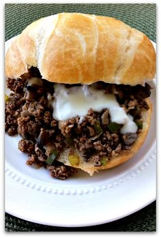 Dishing With Leslie: Philly Cheese Steak Sloppy Joes  Very Good!  Used Mushroom, onion jack cheese