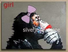 HandPainted Modern Abstract Monkey Oil painting On Canvas (no frame) #ArtDeco