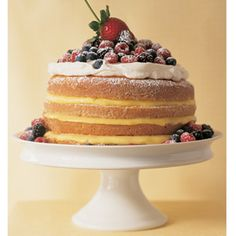 The name of this old-fashioned cake comes from its simple measuring formula: one cup butter, two cups sugar, three cups flour, and four eggs. Our take on the classic offers layers of textures and tastes, with sweetened whipped cream, custardy lemon curd, and fresh mixed berries. Recipe: 1-2-3-4 Lemon Cake