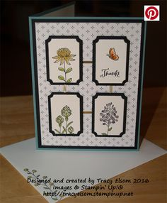 Thank you card created using the Stampin' Up! Flowering Fields Stamp Set.  Get this set FREE during Sale-A-Bration (Jan 05 to Mar 31, 2016)  http://tracyelsom.stampinup.net