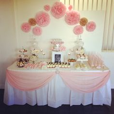 Pink girl baby shower table. DIY table skirt idea