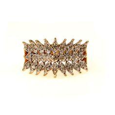14k Gold Diamond Pave Modernist Cocktail Ring #vbantiquejewelry