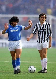 Diego Maradona (SSC Napoli, 1984–1991, 188 apps, 81 goals) and Michel Platini (Juventus FC). Two Legends, one game.