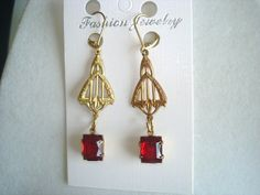 Ruby Red  Faceted Glass  Dangle Vintage Jewelry Earrings on Etsy, $16.99
