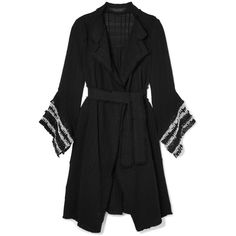 Roland Mouret Millington fringed woven cotton coat (€2.165) ❤ liked on Polyvore featuring outerwear, coats, fringe coat, roland mouret, cotton coat, open front coat and sash belt