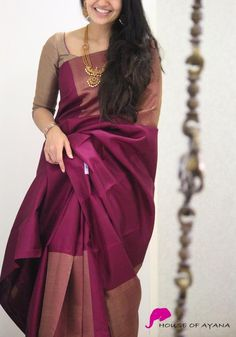 Product Details: Saree: Kanjivaram Silk with zari woven patch on the chest, pleats and pallu.Blouse: Wine burgundy silk (same colour as in the pallu & borders) Lehenga Designs, Pattu Saree Blouse Designs, Half Saree Designs, Saree Blouse Patterns, Mehndi Designs, Kanjivaram Sarees Silk, Indian Silk Sarees, Lehenga Choli, Trendy Sarees