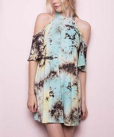 Another great find on #zulily! Mint & Black Tie-Dye Halter Dress #zulilyfinds