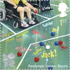Boccia is illustrated by David Doyle    Royal Mail first class postage stamps launched for London 2012 Olympic Games