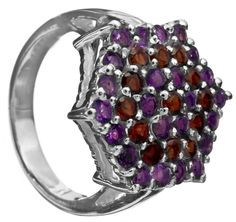 Faceted Amethyst Ring with Garnet - Sterling Silver. 19 mm Height. 7.8 gms.