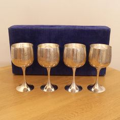 4 Wine Glasses / Goblets in a Purple Velvet Box  || Silver plate on Brass…