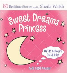 Little princesses everywhere will want this companion product to the popular Sweet Dreams Princess Bible storybook.  84 devotions, prayers, and promises read by Sheila Walsh are the perfect way to help girls understand God's love for them as parents lay them down for night time devotions and prayers. Each story aims to help connect a little princess' heart to family, friends, and most of all, her heavenly Father!