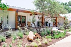 Fixer Upper: A Country Home Fully Reimagined - In one of their biggest challenges yet in terms of redefining spaces and floorplan, Joanna and Chip - Contemporary Landscape, Landscape Design, Desert Landscape, Traditional Landscape, Garden Design, Trees For Front Yard, Front Yards, Side Yards, Front Porches