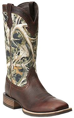 Ariat® Quickdraw™ Men's Brown Oiled Rowdy with Bonz Camo Upper Wide Square Toe Western Boots | Cavender's