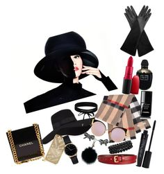 """Simply glam"" by veronica-fernandez-luaces ❤ liked on Polyvore featuring San Diego Hat Co., Burberry, Fendi, Chanel, Aquatalia by Marvin K., Alexander McQueen, MAC Cosmetics, Smashbox, Freedom To Exist and Boohoo"