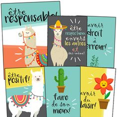 *Produit téléchargeable 6 affiches des valeurs de classe French Classroom Decor, Classroom Setup, Teaching Tools, Teaching Kids, Core French, Bulletin Board Display, French Resources, French Immersion, Cycle 3