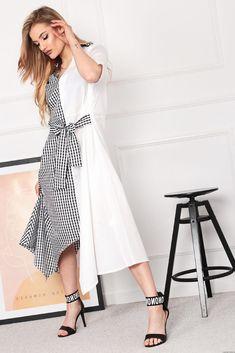 Sukienka Mellody z łączonych materiałów Retro Fashion, Wrap Dress, Dresses, Style, Tunic, Vestidos, Swag, Gowns, Stylus