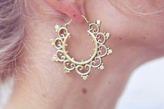 Brass Lotus Hoops Tribal Earrings Ethnic Earrings by stoneagetale, $40.00