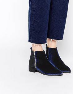 Image 1 ofASOS ASTRONOMICAL Pointed Velvet Ankle Boots