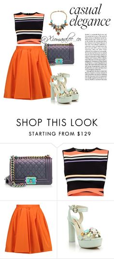 """""""Oranges"""" by stylesbylee ❤ liked on Polyvore featuring Chanel, Ted Baker, Carven and Sophia Webster"""