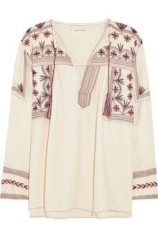 Étoile Isabel Marant Vicky embroidered cotton-muslin top | NET-A-PORTER