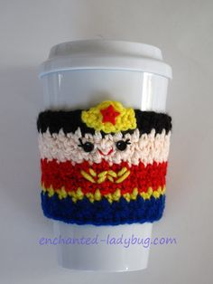 Free Wonder Woman Crochet Coffee cup Cozy pattern by The Enchanted Ladybug