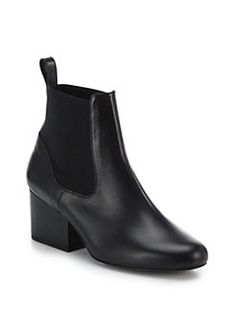 CHRISTIAN LOUBOUTIN Leather Mid-Heel Ankle Boots ...