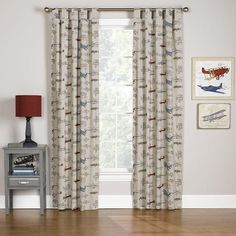 Let your little one soar through the skies with our vintage airplane curtains. You can also order these kid's window treatments with blackout lining. Bedding Master Bedroom, Nursery Curtains, Kids Curtains, Nursery Bedding, Vintage Airplane Nursery, Aviation Nursery, Vintage Airplanes, Blue Kids Furniture, Kids Window Treatments