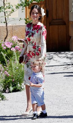 Princess Sofia of Sweden held son Prince Alexander's hand after the Drottningholm Palace Chapel service.
