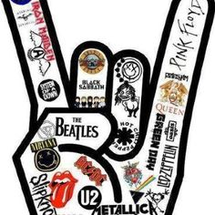 """I love this design! However, I only love/know like of the heavy metal/rock bands in this """"rock sign"""" but I'm sure they're all amazing!<< This is amazing, Kinds Of Music, Music Is Life, Live Music, Mundo Musical, Music Rock, Rock Music Artists, Rock Poster, We Will Rock You, Guns N Roses"""