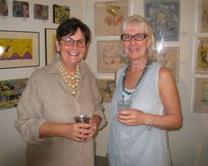 Fay O'Meara, one of the exhibit's artists, with Fran Keeping.