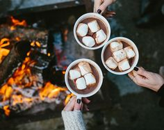 I like having hot chocolate or smores and putting it above a fire to make it melt!