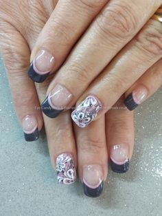 Grey and pink marbled gel with freehand nail art