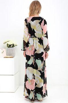 Wondrous Water Lilies Black Floral Print Maxi Dress at Lulus.com!