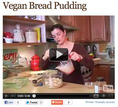 Welcome to the Everyday Dish vegan cooking show! Bread Pudding just like your mother used to make, providing of course your mom was vegan. Vegan Dessert Recipes, Vegan Sweets, Raw Food Recipes, Vegetarian Recipes, Vegan Bread Pudding, Vegan Pizza, Vegan Food, Vegan Casserole, Pudding Ingredients