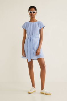 a6cede8e8eb98 Kadın Mavi Çizgili Fiyonklu Elbise 33083699 MANGO Woman | Trendyol