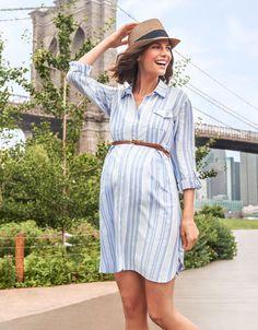 Blue Striped Maternity Shirt Dress