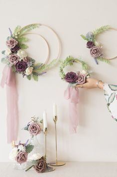Handcrafted with realing looking open roses, rose buds, ferns and dusty miller . Handcrafted with realing looking open roses, rose buds, ferns and dusty miller on natural bamboo hoops. They look realis. Pew Flowers, Open Rose, Floral Hoops, Deco Floral, Dusty Rose, Dusty Pink, Pastel Pink, Rose Buds, Diy Wedding