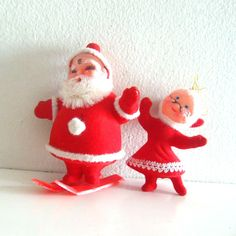 Vintage Christmas Ornaments Flocked Santa and Mrs Claus by ismoyo, $8.00